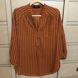 FABRIK Striped 3/4 Sleeve Brown and Black Blouse